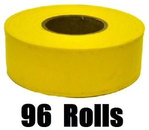 96 Rolls Hanson 17024 300 Ft Yellow Vinyl Flagging Tape Marking Ribbon