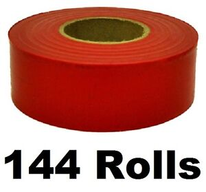 144 Rolls Hanson 17021 300 Ft Red Vinyl Flagging Tape Marking Ribbon