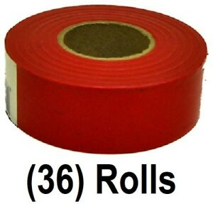36 Rolls Hanson 17002 150 Ft Glo Red Vinyl Flagging Tape Marking Ribbon