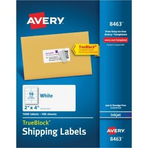 Inkjet Labels Shipping Permanent 1000 bx We Ave8463