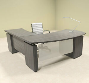 4pc Modern Contemporary L Shaped Executive Office Desk Set mt ste l1