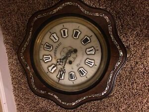 Antique French Nuns Prayer Striker Wall Clock Walnut With Mother Of Pearl