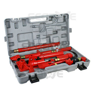 10 Ton Hydraulic Auto Body Frame Tools Jack Ram Shop Set Porta Power Repair Kit