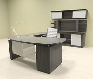 3pc Modern Contemporary L Shaped Executive Office Desk Set mt ste l7