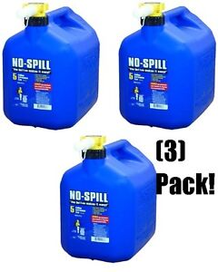 3 No Spill 1456 5 Gallon Carb Compliant Blue Kerosene Fuel Can Containers