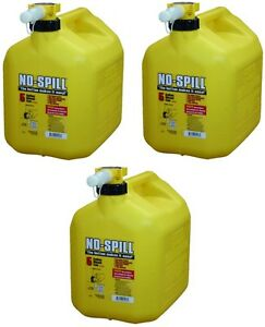 3 Ea No Spill 1457 5 Gallon Carb Compliant Yellow Diesel Fuel Can Containers