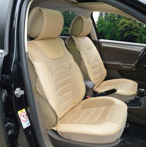 2 Front Car Seats Covers Pu leather Suede Insert For Cadillac 802e Tan