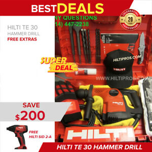 Hilti Te 30 Hammer Drill Preowned Mint Cond Free Bits Chisels Fast Ship
