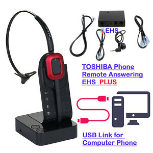 Wireless Usb Computer Headset With Toshiba Phone Ip5022 Ip5122 Remote Hook Cord