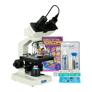 Omax 2500x 1 3mp Camera Led Microscope blank Slides cleaning Kit lens Paper book