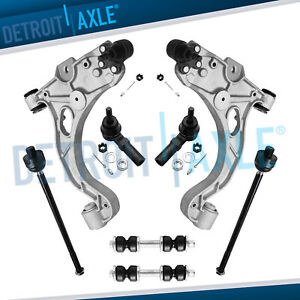 8pc Complete Front Lower Control Arm Set Sway Bar Tie Rods For Buick Cadillac