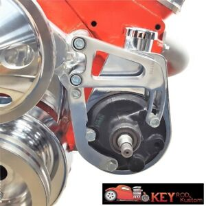 Small Block Chevy Polished Aluminum Power Steering Bracket Long Water Pump 350