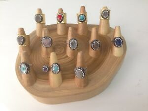 Natural Wood Ring Display