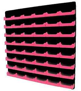Neon Pink Card Holder W Black Acrylic Back 48 Pocket Wall Mount Business Card