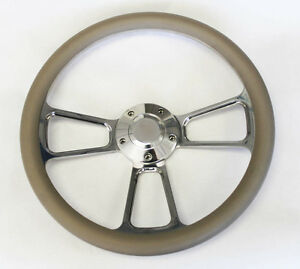 1964 66 Chevy Ii 2 Nova Impala Grey And Billet Steering Wheel 14 Shallow Dish