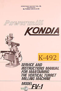 Kondia Fv 1 Powermill Milling Service And Parts Manual