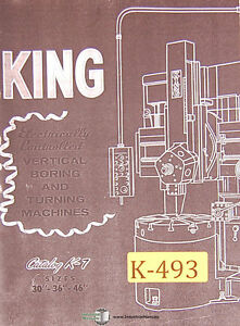 King 30 36 46 50 100 Vertical Boring Mill Operations Diagram Manual