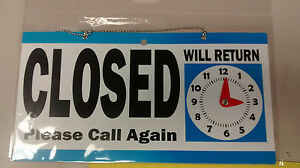 Open Closed Sign 11 5 X 6 Double Sided Hanging Signage Will Return Clock