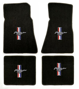 New Black Floor Mats 1994 2004 Mustang Pony Bars Embroidered Logo On All 4 Mats