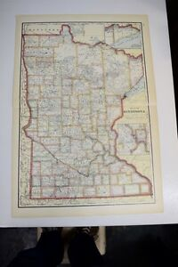 1911 Large Antique Color Map Of Minnesota Pub By Geo Cram Features Rr S