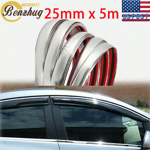 1x 25mm 16ft Decoration Chrome Silvery Moulding Body Trim Bumper Protector Strip