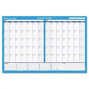 30 60 day Undated Horizontal Erasable Wall Planner 48 X 32 Blue white 2 Pack