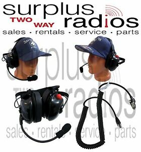 New Dual Muff Racing Headset For Kenwood K2 Nx200 Nx300 Tk3180 Tk2180 Tk280