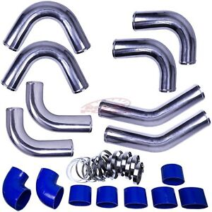 4 0 Universal Aluminum Intercooler Turbo Piping Pipe Kit silicone clamp Blue
