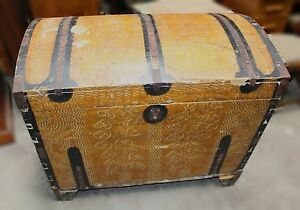 Large Antique Dome Top Painted Trunk Dated 1905