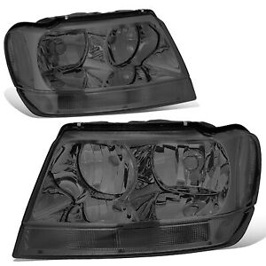 Fit 1999 2004 Jeep Grand Cherokee Smoked Housing Clear Corner Headlight lamp Set