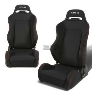 Nrg Left Right Red Stitch Cloth Type R Reclinable Racing Bucket Seats Sliders