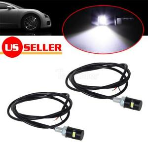 2x White Universal Led Lamps Wiring Screw Bolt on License Plate Lights Diy 12