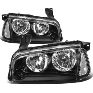 Fit 2006 2010 Dodge Charger Pair Black Houisng Headlight Clear Turn Signal Lamp