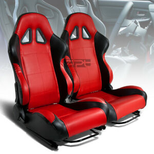X2 Pair Full Reclinable Left right Black red Pvc Leather Bucket Racing Seats