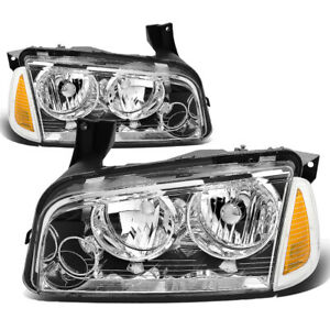 Fit 2006 2010 Dodge Charger Pair Chrome Houisng Headlight Amber Turn Signal Lamp