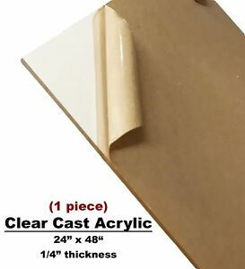 Clear Acrylic Plexiglass Plastic High Density Sheet 1 4 X 24 X 48