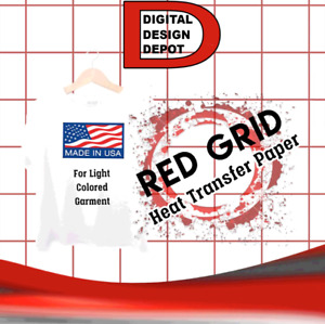 100 Sheets 8 5 X 11 Light Fabric Inkjet Transfer Paper Red Grid New