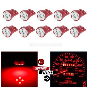 10x Red T10 Wedge W5w 168 194 2825 Led Interior Instrument Dash Light Bulbs