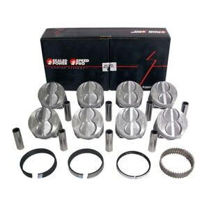 Speed Pro Ford 289 302 Flat Top Hypereutectic Coated Pistons Moly Rings 040
