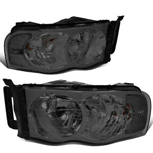 For 02 05 Dodge Ram 1500 2500 3500 Pair Smoked Housing Clear Corner Headlight