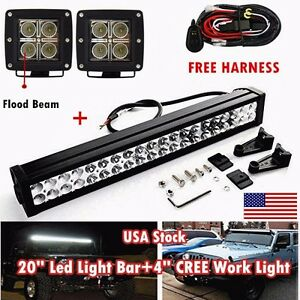 20inch Combo Off Road Led Light Bar 2 4 Pods Flood Cree Work Lamp Atv 4wd Suv