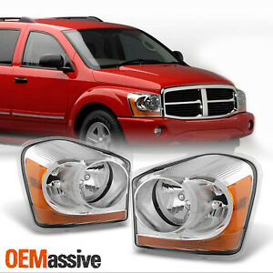 Fit 2004 2005 Dodge Durango Clear Replacement Headlights Front Lamps L r