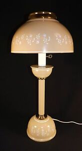 Vtg Metal Toleware Tan White Cottage Desk Table Lamp Light Dome Shade Works