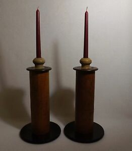 Antique Primitive Spool Wooden Candle Holders Turned Cups Painted Beautiful