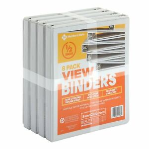 3 Ring View Binders 8 Pack 1 2 Inch 125 Sheet Presentation Locking Round Rings