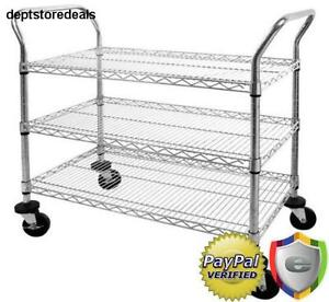 3 tier Shelf 800 Lb Capacity Chrome Wire Utility Cart Commercial Residential