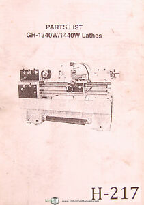 Acra Birmingham Gh 1340w And Gh 1440w Lathe Parts Manual