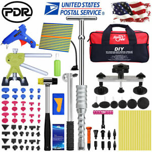 Paintless Dent Repair Removal Puller Lifter Pdr Tools Led Light T Bar Hammer Kit