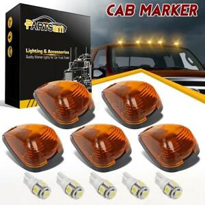 5x Amber Roof Cab Marker Lights White Led Assembly For Ford F250 F350 2010 2014