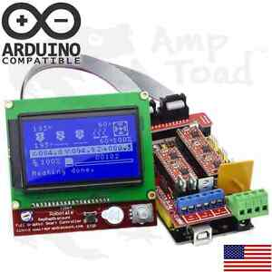 Arduino Ramps V1 4 3d Printer Kit Mega 2560 4 X A4988 Drivers Lcd12864 Mcu